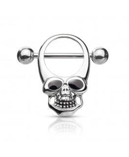 Piercing anneau teton tete de mort œil yeux noir sein poitrine gothique avec barre tige 1,6 16 mm