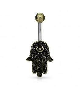 Piercing nombril main fatma Khamsa symbole oeil yeux religieuse et culturelle ohm antique