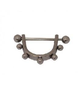piercing mamelon acier demi-cercle multi-boules