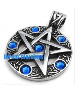 pendentif Gohique cercle et croix pentagramme pentacle