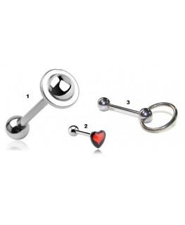 Piercing langue en acier chirurgical ovni, logo cœur ou slave