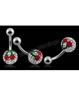 piercing nombril strass imitation cristal cerise