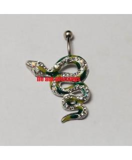 Piercing nombril inversé serpent vert strass blanc