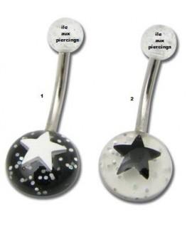 piercing etoile nombril acrylique