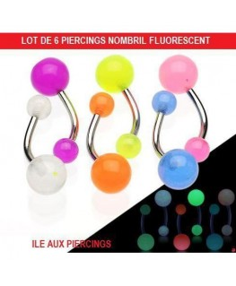 Lot Piercing nombril fluo brillant dans noir UV phosphorescent